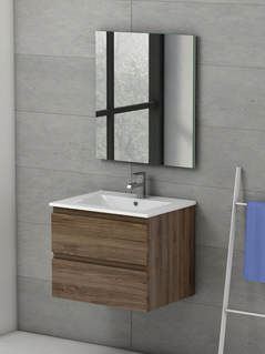 VIENA WALNUT 600 WALL HUNG UNIT/BASIN