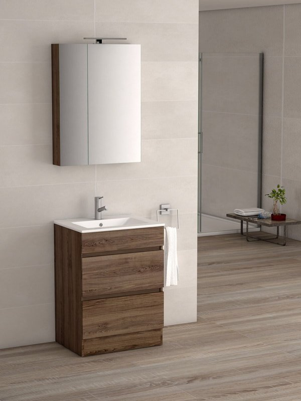 VIENA WALNUT 600 FLOOR UNIT/BASIN