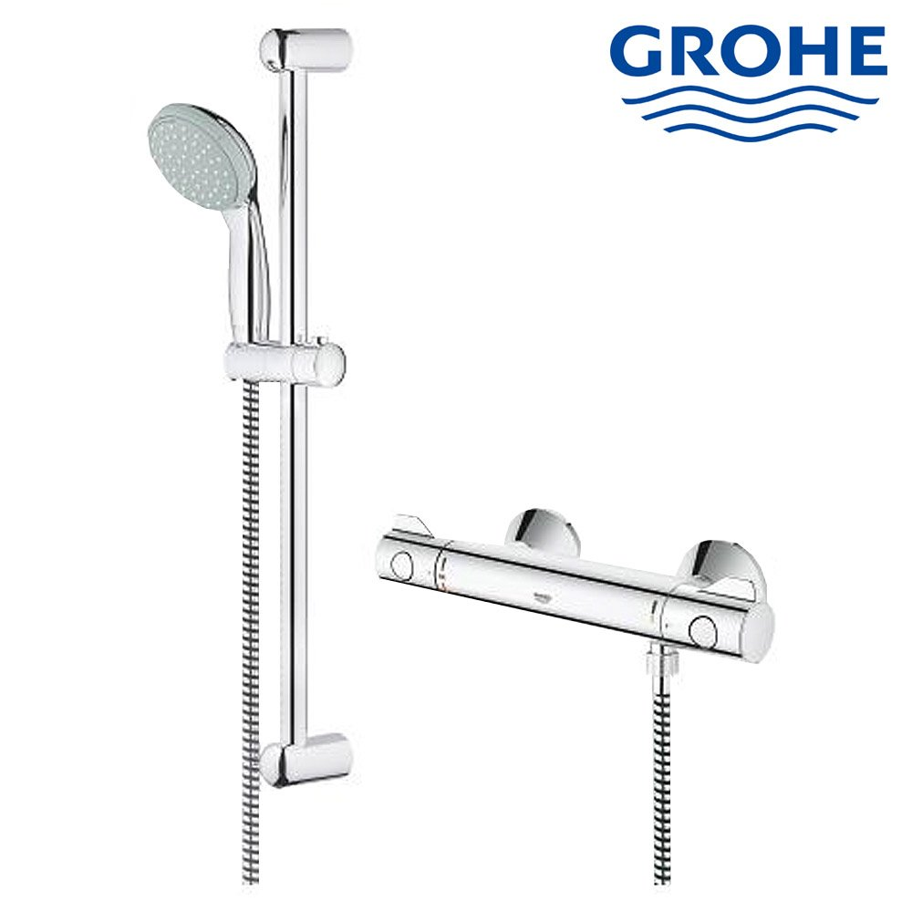 grohe grohtherm 800 thermostatic shower mixer 1 2 with shower set tilehaven. Black Bedroom Furniture Sets. Home Design Ideas